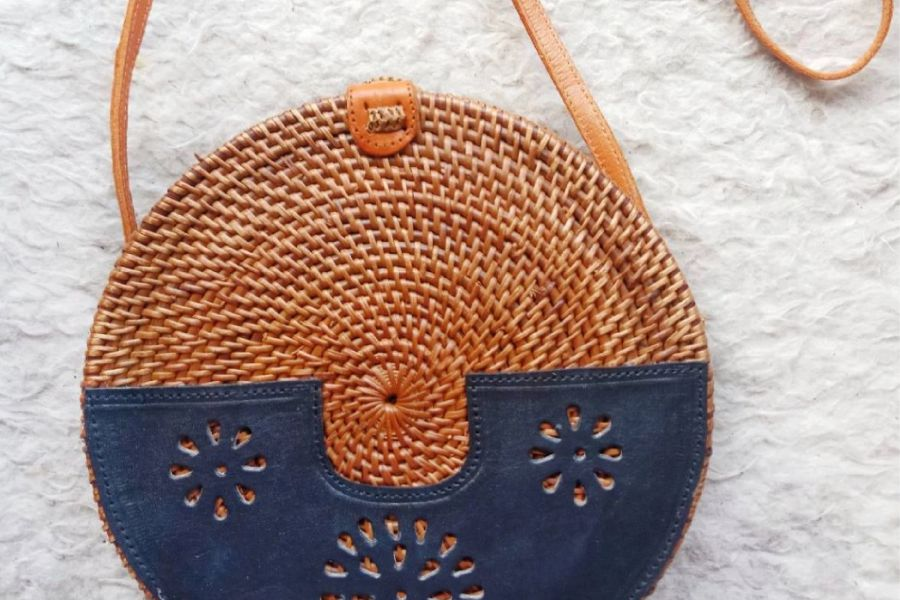 Rattan Bags White with Leather Design