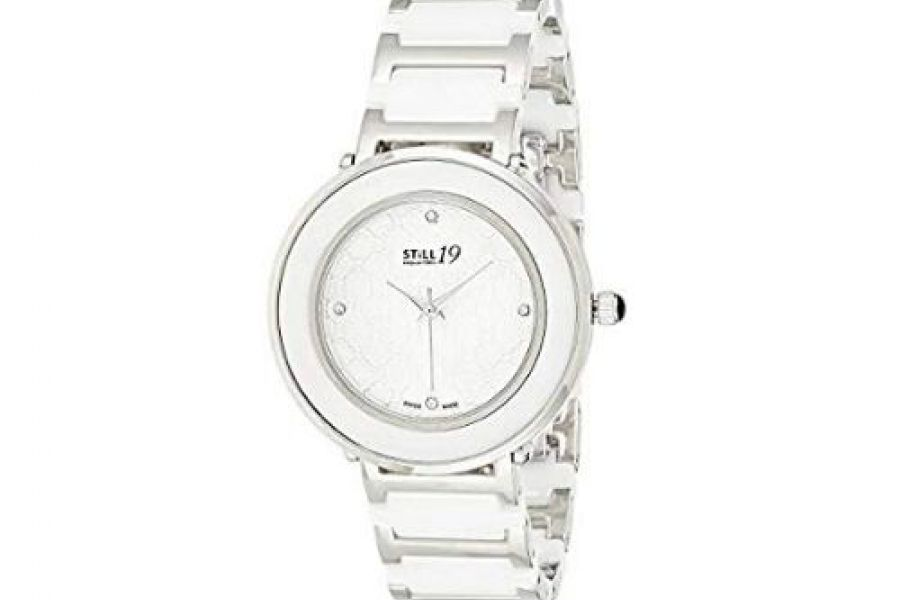 Still 19 - Women's Silver Dial Stainless Steel and Ceramic Band Watch