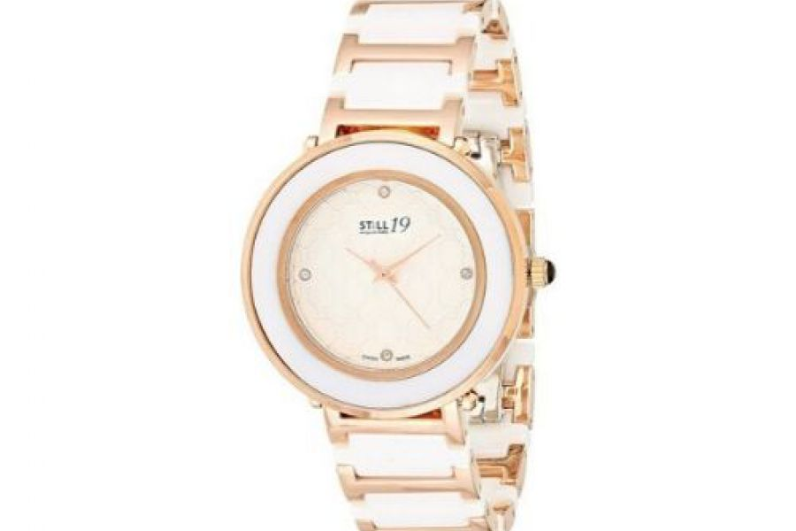 Still 19 - Women's Rose Gold Dial Stainless Steel and Ceramic Band Watch