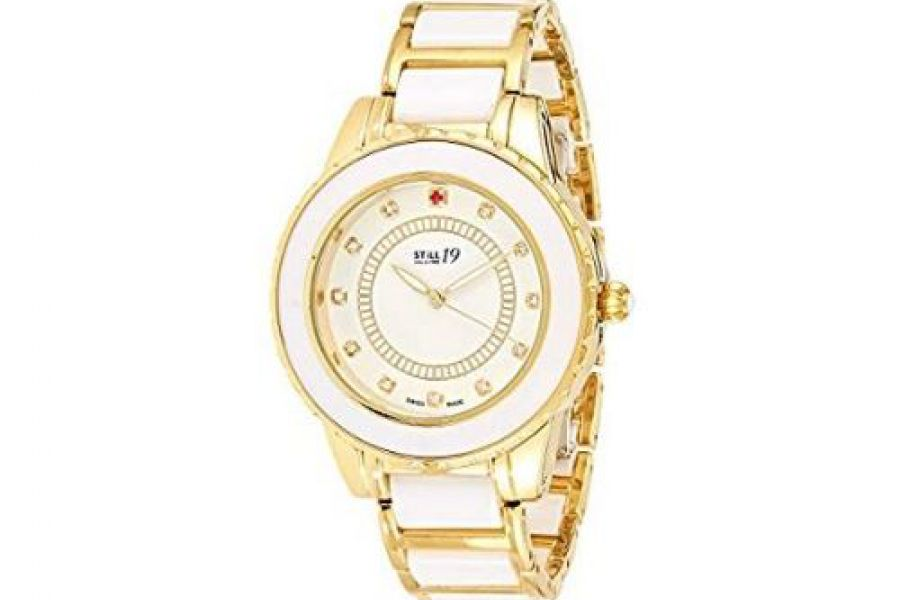 Still 19 - Women's Gold Dial Stainless Steel and Ceramic Band Watch
