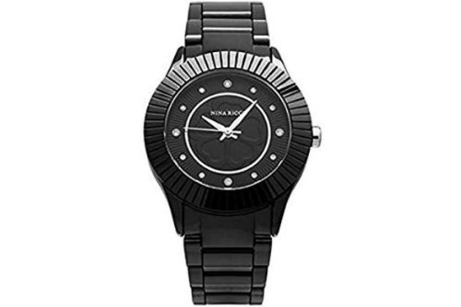 Nina Ricci - Black Dial Stainless Steel Band Ladies Watch